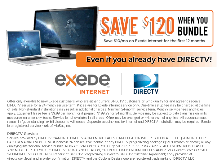 Save $120 when you Bundle DIRECTV with Exede Internet