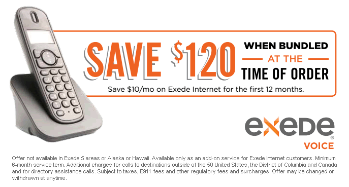 Save $120 - Bundle Exede Voice and Internet